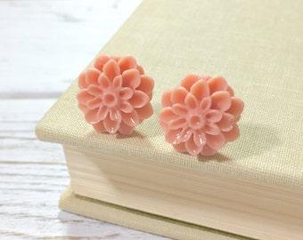 Peach Mum Studs, Salmon Chrysanthemum Flower Earrings, Salmon Mum Studs, Peach Mum Studs, Surgical Steel, KreatedByKelly (SE10)