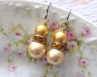 Pearl and Rhinestone Earrings in Beige and Yellow with Surgical Steel Ear Wires