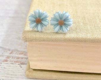 Little Blue Gerbera Daisy Stud Earrings with Surgical Steel Posts (SE18)