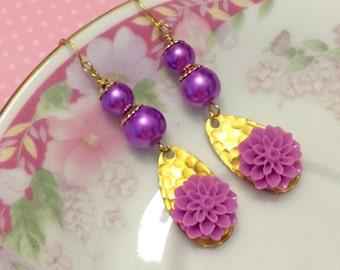 Purple Pearl Earrings, Long Dangle Earrings Purple Flower Earrings, Purple Dangle Earrings, Statement Earrings, KreatedByKelly