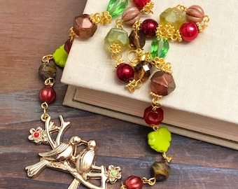 Love Birds Beaded Rosary Style Chain Statement Layering Necklace in Red, Brown, Green and Gold