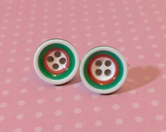 Christmas Studs, Red and Green Bulls Eye Stud Earrings, Holiday Studs, Christmas Earring, Button Studs, Surgical Steel Studs (SE2)