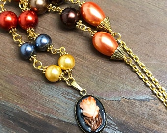 Beaded Fall Necklace with Vintage Carved Flower Pendant in Rustic Orange, Yellow, Grey Blue and Brown