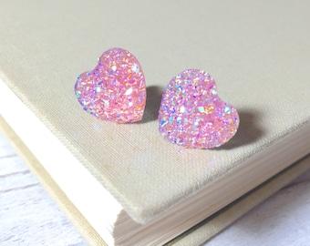 Light Pink Heart Earrings, Valentine's Earrings, Faux Druzy Heart Earrings, Sparkly Earrings, Flower Girl Earrings, KreatedByKelly (SE10)
