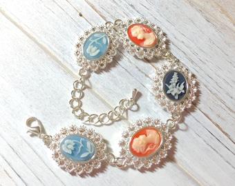 Cameo Bracelet, Vintage Assemblage Bracelet, Off White Woman on Peach, Floral Cameo Bracelet, Victorian Cameo Bracelet, KreatedbyKelly