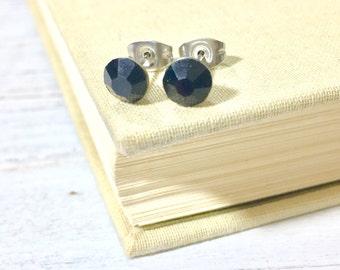 Black Rhinestone Stud Earrings, Small Black Rhinestone Studs, Black Glass Studs, Black Earrings, Surgical Steel Studs (HJ4)