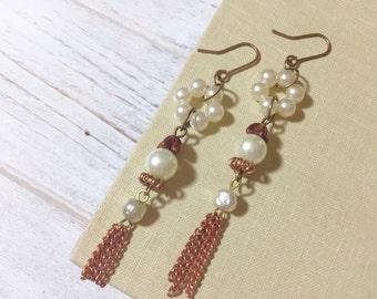 Long Dangle Earrings, Copper Tassel Earrings, Unique Pearl Earrings, Vintage Assemblage Earrings, Quirky Earrings, Funky Earrings