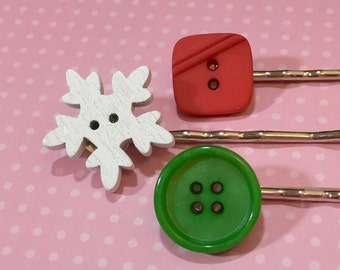 Christmas Hair Pins, Button Bobby Pin Set, Vintage Holiday Red and Green, White Wood Snowflake, Accessories by KreatedbyKelly