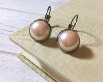 Czech Glass Drop Earrings, Lever Back Earrings, Cream Colored Czech Glass Pearl Earrings, Chic Earrings, Simple Earrings