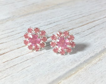 Pink Rhinestone Earrings, Pink Rhinestone Flower Studs, Pink Flower Studs, Bridesmaid Gift Earrings, Glass Flower Earrings (SE8)