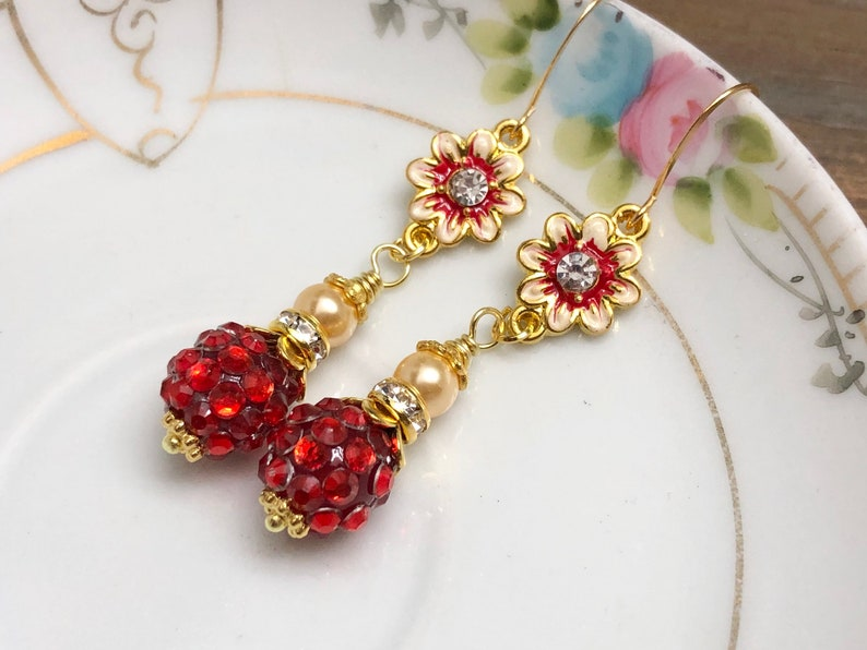Enameled Metal Red Rhinestone Flower Earrings with Sparkly Ball Bead Rhinestone Gold Toned Findings and Pearl Dangle