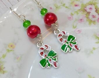 Candy Cane Earrings, Christmas Earrings, Holiday Jewelry, Red and Green Earrings, Candy Earrings, Festive Earrings, KreatedByKelly