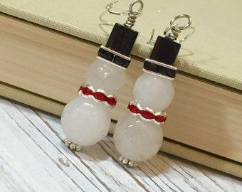 Snowman Earrings, Winter Earrings, Quirky Cute Frosty the Snowman Earrings, Christmas Earrings, Surgical Steel, White Glass Earrings (DE2)
