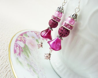 Pink Flower Earrings, Pink Rhinestone Earrings, Floral Earrings, Vintage Assemblage Jewelry, Handmade by KreatedByKelly