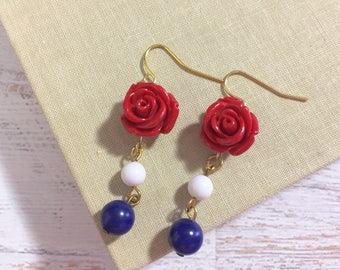 Carved Red Flower with Bead Drop Earrings in Patriotic Red White and Blue for 4th of July Independence Day Surgical Steel