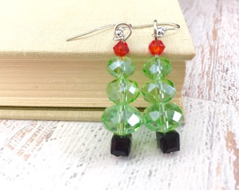 Green Sparkling Glass Beaded Christmas Tree Dangle Earrings with Red Top