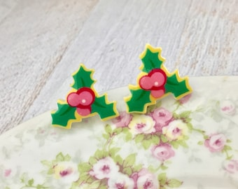 Pretty Large Christmas Holly with Berries Stud Earrings in Pink Green Yellow with Surgical Steel Posts