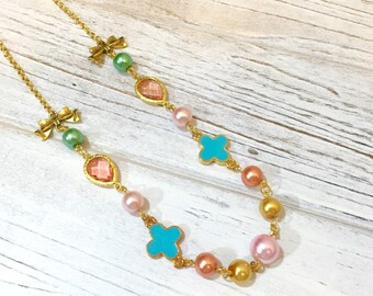 Pastel Beaded Necklace, Assemblage Necklace, Pink Gem Necklace, Girlie Bows Necklace, Layering Necklace, Shabby Chic Jewelry, KreatedbyKelly