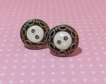 Fancy Button Studs, Vintage Button Studs, Metal Filigree Border with Iridescent Resin Pearl Center, Estate Style Studs (SE6)