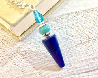 Blue Beaded Cone Pendant Layering Necklace with Vintage Bead and Silver Toned Findings KreatedbyKelly