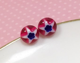 4th of July Studs, Red White and Blue Stud, Patriotic Star Studs, Small Resin Studs, Little Star Studs, Blue Flower Earrings, KreatedByKelly