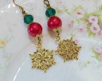 Snowflake Earrings, Christmas Earrings, Holiday Jewelry, Red and Green Earrings, Winter Earrings, Gold Snowflake Earrings, KreatedByKelly