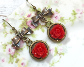 Red Flower Earrings, Antique Brass Bow Earrings, Red Rose Earrings, Estate Style Jewelry, Handmade By KreatedByKelly