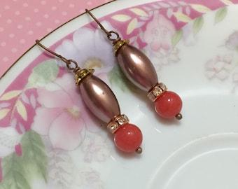 Pearl and Rhinestone Earrings, Rustic Earrings, Bohemian Earrings, Coral Earrings, Brown Pearl Earrings, Beaded Earrings, KreatedByKelly