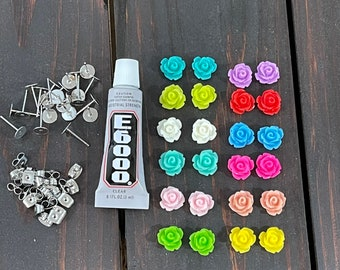 Icing Rose Stud Earring Kit, Includes Colorful Flower Cabochons, Stainless Steel Ear Stud Blanks, Stainless Steel Push Backs and Glue