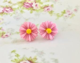 Pink Flower Earrings, Pink Daisy Stud Earrings, Surgical Steel Studs,  Pink Gerbera Daisy Studs, Bridesmaid Gift Wedding Earrings (SE8)