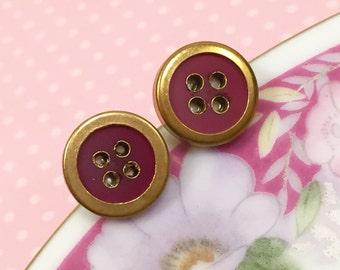 Vintage Button Studs, Brass Rimmed Brick Red Button Studs, Button Stud Earrings, Crafty Friend Gift Idea, Sewing Button Earrings (SE7)