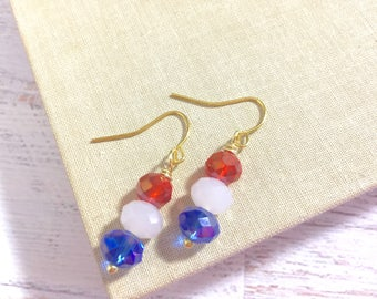 Simply Sparkling Glass Beaded Short Dangle Drop Earrings in Patriotic Red White and Blue for 4th of July Independence Day (DE5)