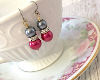 Pearl and Rhinestone Earrings in Gunmetal Gray and Fuchsia Pink with Surgical Steel Ear Wires