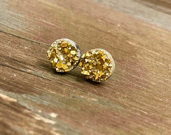 Sparkly Little Faux Druzy Stud Earrings in Gold with Stainless Steel Posts