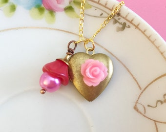 Vintage Brass Heart Locket Necklace with Pink Icing Rose and Red Czech Glass Flower with Pearl Charm