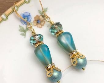 Fancy Sea Green Blue Czech Glass Beaded Earrings with Rhinestone and Gold Toned Findings, Hypoallergenic Ear Wires