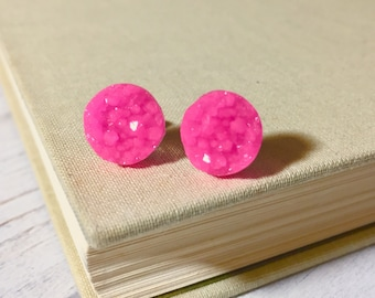 Bright Pink Druzy Studs, Pink Studs, Bright Pink Stud Earrings, Pink Drusy Studs, Druzy Jewelry, Surgical Steel Studs, KreatedByKelly (SE2)