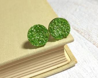 Green Druzy Studs, Green Glitter Studs, Green Stud Earrings, Green Drusy Studs, Druzy Jewelry, Surgical Steel Studs, KreatedByKelly (SE9)