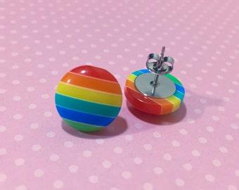 Rainbow Stripes Earrings, Chunky Button Studs, Rainbow Stud Earrings, Colorful Striped Studs, Stainless Steel Studs, KreatedByKelly (SE2)