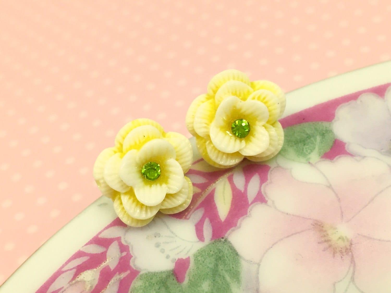 Yellow Rose Studs Rhinestone Flower Studs Yellow Flower Studs
