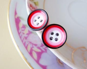 Super Cute Post Earrings, Mod Circles Stud Earrings, Sewing Button Earrings in Pink Red Black, Surgical Steel Hypoallergenic Earrings