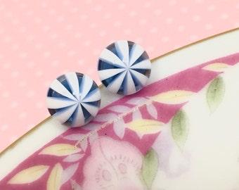 Icy Blue Studs, Blue Peppermint Studs, Peppermint Earrings, Blue and White Earrings, Kawaii Ear Studs, Sensitive Ear Studs (SE4)