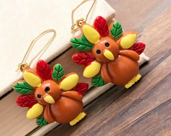 Big Colorful Turkey Novelty Dangle Earrings in Lovely Fall Colors with Stainless Steel Kidney Ear Wires for Thanksgiving (LB7)