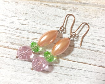 Pearl Bridesmaid Earrings, Spring Earrings, Pastel Earrings, Easter Jewelry, Glass Bead Earrings, Pink Mint Green Handmade by KreatedByKelly
