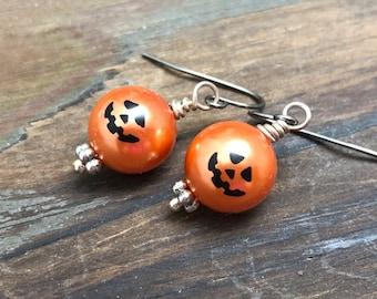 Fun Little Smiling Pumpkin Jack-o-Lantern Dangle Earrings for Halloween with Surgical Steel Ear Wires