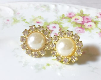 Lightweight Big Rhinestone and Pearl Wedding Bridal Flower Stud Earrings with Surgical Steel Posts (SE2)