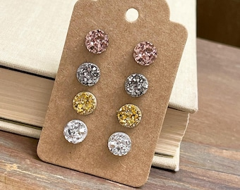 Mixed Metals Little Faux Druzy Sparkly Stud Earrings Set in Gold, Silver, Gunmetal Silver and Rose Gold with Stainless Steel Posts