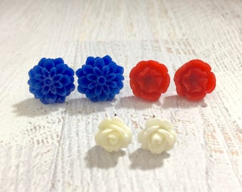 USA Patriotic Stud Earring Set with Blue Mum, White Rose, and Red Flower, Surgical Steel Posts