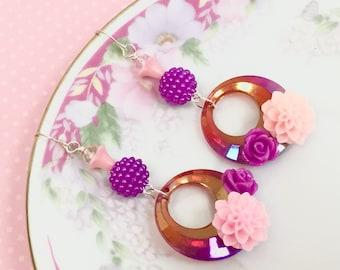 Retro Hoop Earrings, Purple Flower Earrings, Assemblage Earrings, Disco Earrings, Spring Flower Earrings, Handmade By KreatedByKelly