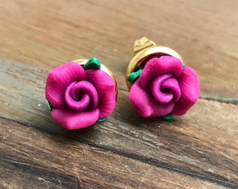 Magenta Polymer Clay Rose Flower Earrings in Gold Toned Stainless Steel Settings (LB5)